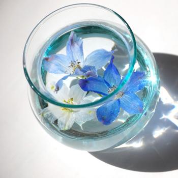 グラスの中の青い花