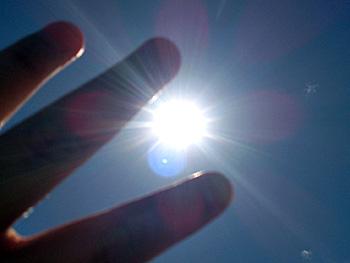 日差しを遮る手